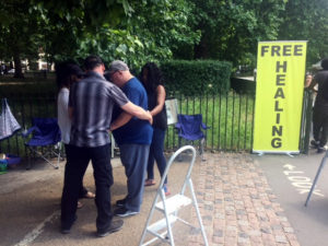 Free healing hyde park, healing corner man with bad back
